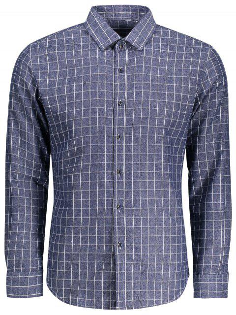 Chemise manches longues à carreaux - Bleu 4XL Mobile