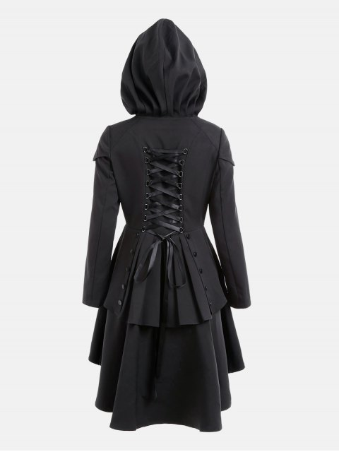 womens Layered Lace Up High Low Hooded Coat - BLACK L Mobile