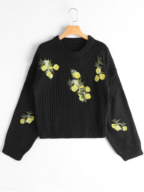 outfit Crew Neck Graphic Drop Shoulder Sweater - BLACK S Mobile