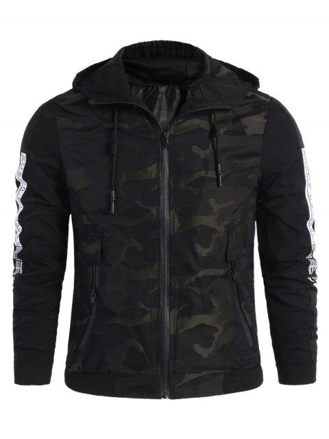 shop Camo Side Letter Hooded Jacket - BLACK XL Mobile