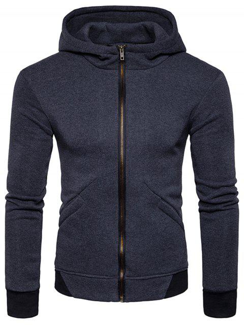 Hooded Rib Panel Fleece Zip Hoodie con cremallera - Gris Oscuro M Mobile