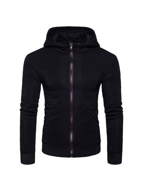 Vlies Rippenplatte Pullover mit Reißverschluss - Schwarz XL  Mobile