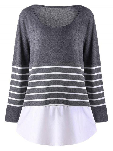 Plus Size Striped Jersey Top - Grau XL  Mobile