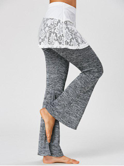 women Lace Trim Heather Flare Skirted Pants - DARK HEATHER GRAY M Mobile