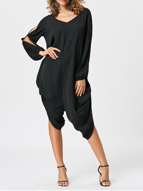ladies Split Sleeve Capri Wide Leg Jumpsuit - BLACK M Mobile