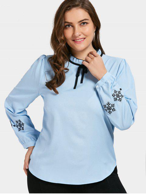 fancy Embroidered Ruffled Plus Size Top - BLUE 3XL Mobile