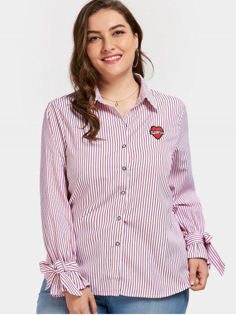 latest Plus Size Applique Striped Shirt - PINK 2XL Mobile