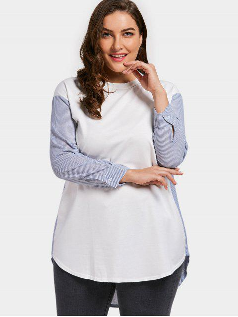 shop Striped Panel Plus Size Tunic - WHITE 4XL Mobile