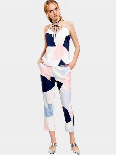 best Geometric Contrasting Tank Top and Ninth Straight Pants - MULTICOLOR S Mobile