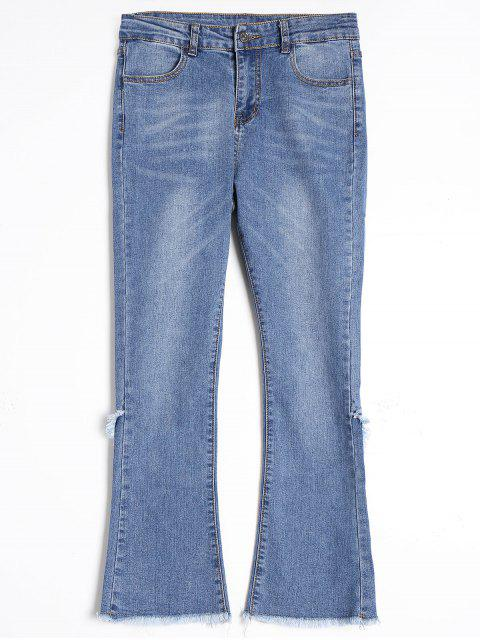 sale Frayed Hem Boot Cut Jeans - BLUE M Mobile
