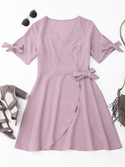 Robe Drapée de Couverture avec Noeuds - Violet Clair M Mobile