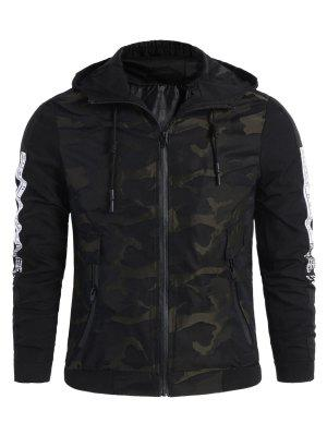 Camo Side Letter Hooded Jacket