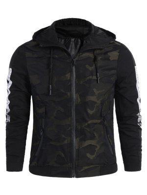 Camo Side Letter Hooded Jacket