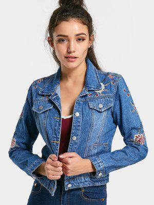 Embroidered Button Up Jean Jacket - Denim Blue M