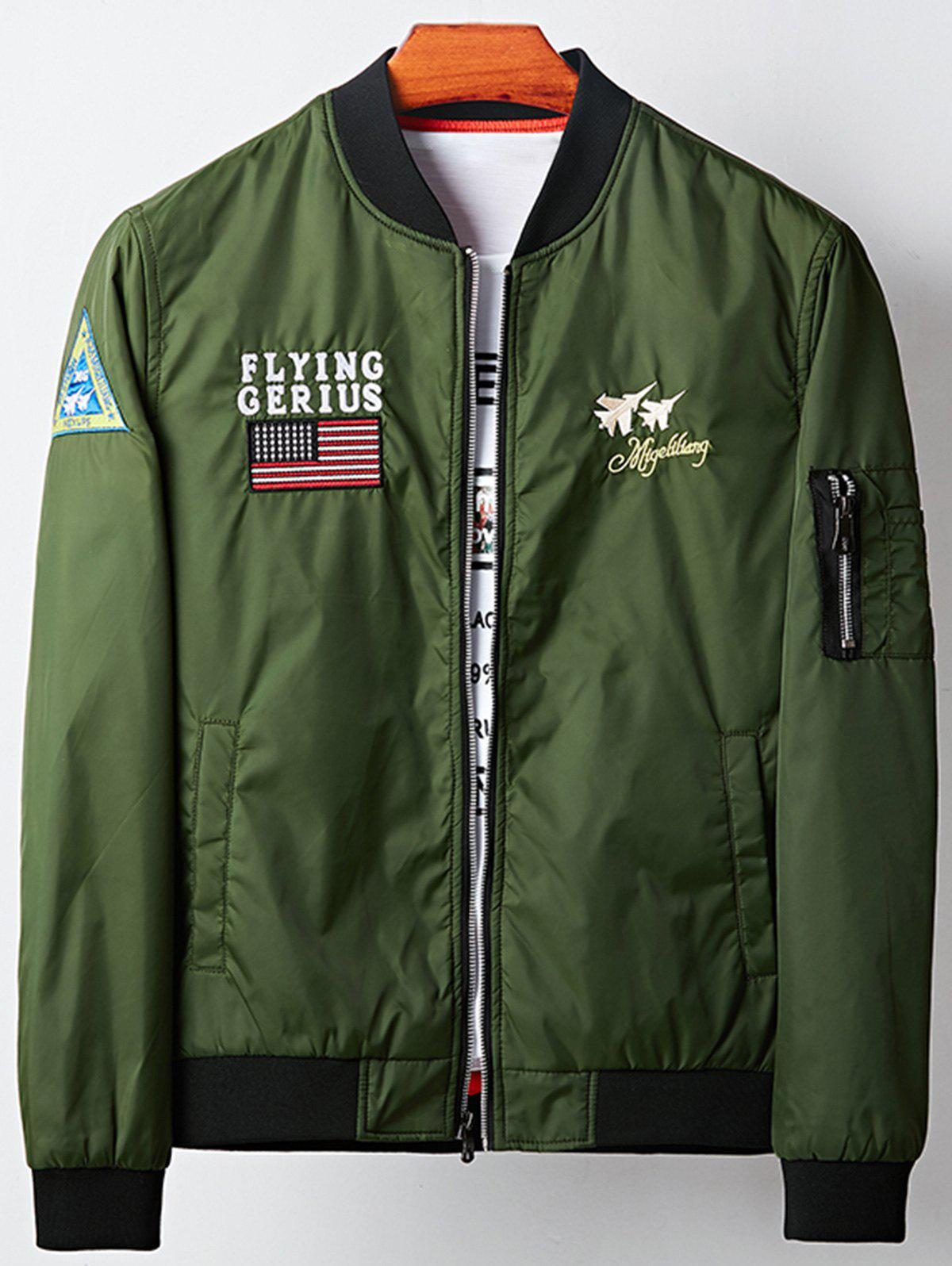 Aircraft Graphic Embroidered Applique Bomber Jacket
