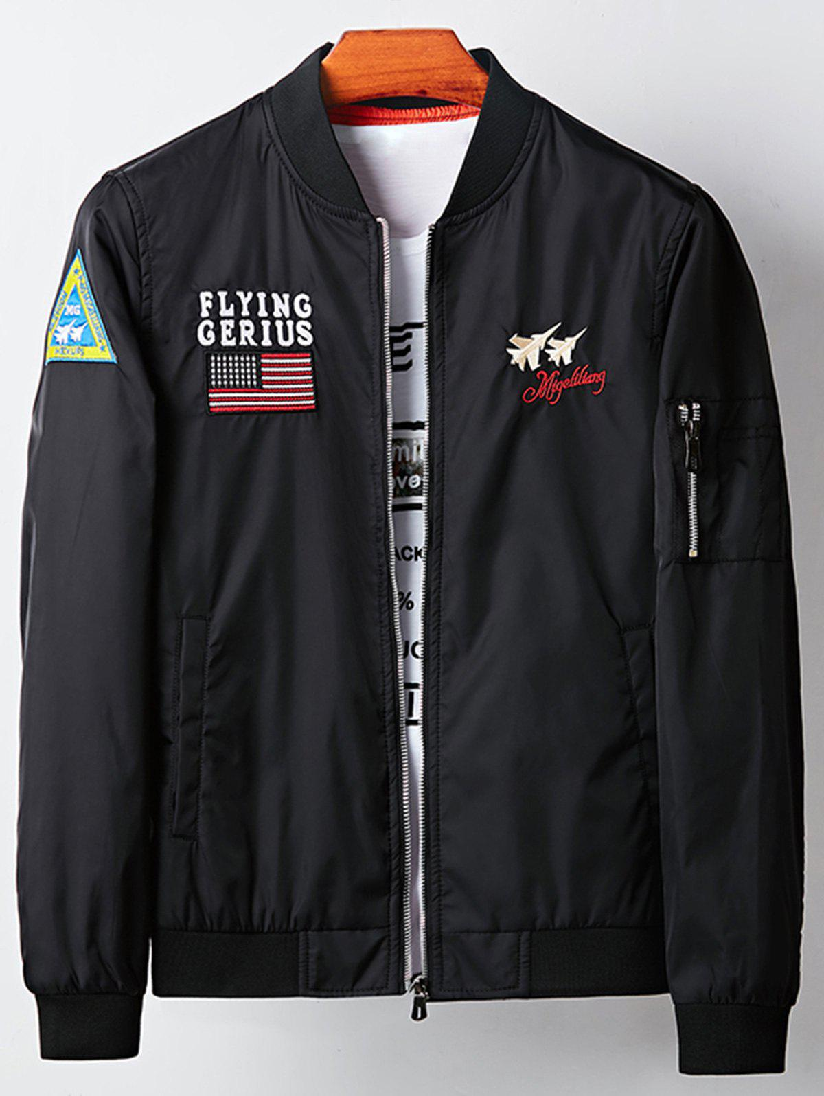 Aircraft Graphic Embroidered Applique Bomber Jacket 225520905
