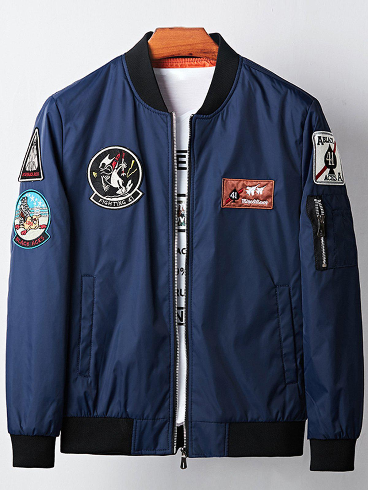 Appliques Cartoon Embroidered Bomber Jacket 225533912