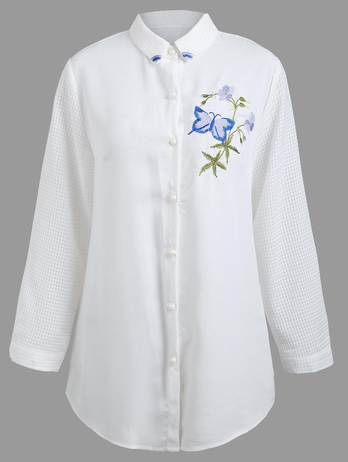 Plus Size Schmetterling Floral gestickte Bluse