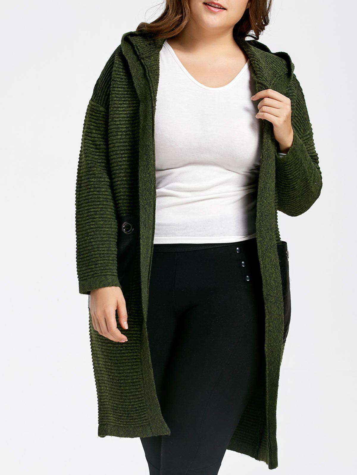 Plus Size Chunky Pocket Long Hooded Sweater Coat 222476803