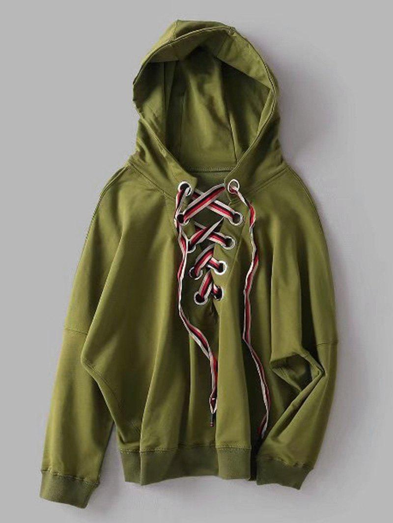 Oversized Lace Up Hoodie, Army green