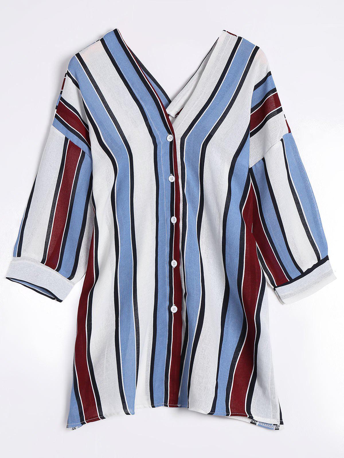 V-Ausschnitt-Schulter-gestreifte Bluse