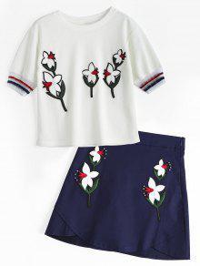 توب مرقع الأزهار وتنورة مصغرة - أبيض S