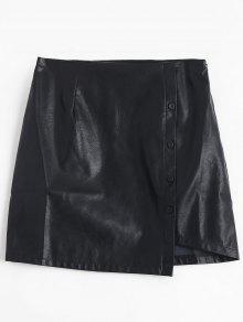 Detalle De Botón PU Falda De Cuero - Negro Xl