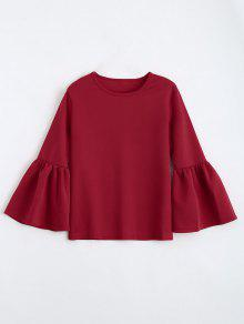 Buy Flare Sleeve Boxy Top - RED M