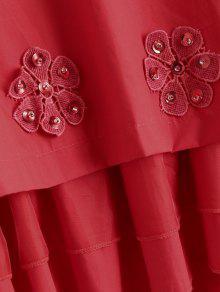 Con Capas Rojo Florales Blusa En Apliques fqOBY