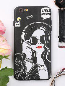 غطاء الهاتف بنمط فتاة للابل ايفون - أسود آيفون 6 Plus / 6s Plus