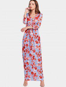 Vestido Maxi Acanalado Con Estampado Floral De Cuello En V - Floral Xl