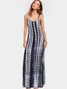 Slit Printed Open Back Cami Maxi Dress - Multi Xl