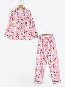 Chemise à Fleurs En Satin Avec Pantalons - Rose PÂle Xl