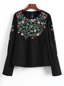Blusa Floral Bordada Con Cremallera - Negro L