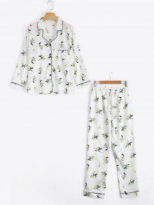 لونجيوير الساتان الأزهار طباعة قميص مع السراويل - أبيض Xl