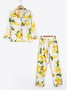 الساتان الليمون طباعة قميص مع السراويل لونجوير البدلة - أبيض L