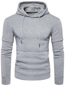 Faux Twinset Tasche Fleece Pullover Hoodie - Hellgrau S