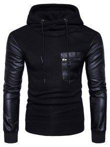 PU-Leder-Pocket-Fleece-Pullover-Kapuzenpulli - Schwarz L