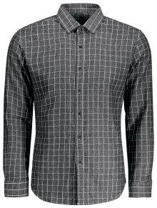 عارضة قميص طويل الأكمام منقوشة - رمادي 2xl