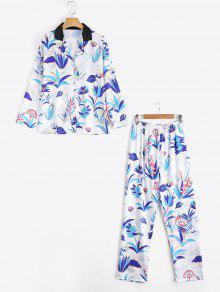 Camisa De Estampado De Hierba Ceñida Con Pantalón Suit Loungewear - Blanco M