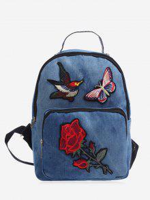 حقيبة ظهر من الدينيم مزينة بتطريز ذات سحاب - أزرق