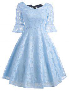 فستان توهج الأكمام بونوت دانتيل - الضوء الأزرق 2xl