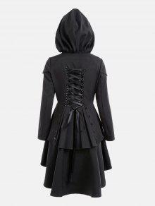 الطبقات الدانتيل يصل ارتفاع منخفض معطف مقنعين - أسود M