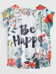 Be Happy Letter Floral Imprimé Tee - Multi L