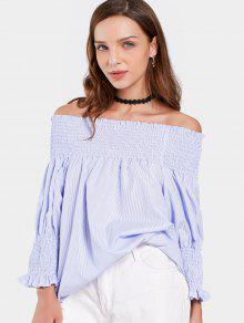 S Blusa Azul Smocked Del Rayada La Claro De Hombro wqwSP1Tx