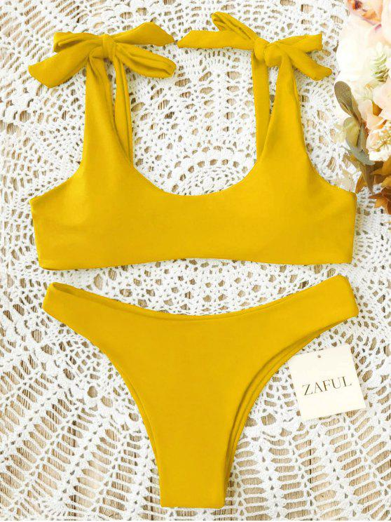 women Scoop Tie Shoulder Padded Bathing Suit - YELLOW S