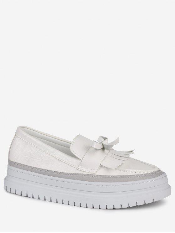 Bowknot Fringed Slip On Platform Shoes - Branco 37