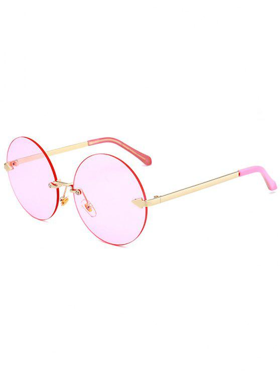 8ece6cf70783 13% OFF] 2019 Jelly Lens Round Rimless Sunglasses In LIGHT PINK ...