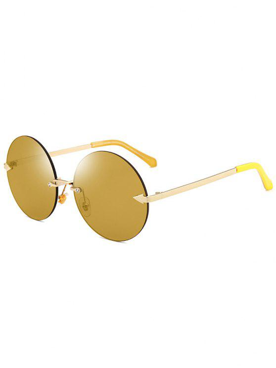 outfits Jelly Lens Round Rimless Sunglasses - LUXURY GOLD COLOR