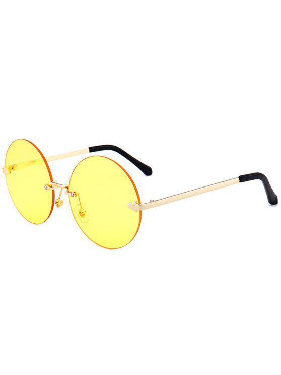 Jelly Lens Round Rimless Óculos de sol - Amarelo Claro